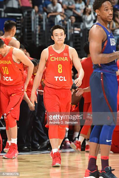 Ding Yanyuhang of China is seen against the USA Basketball Men's National Team at the Staples Center in Los Angeles California NOTE TO USER User...
