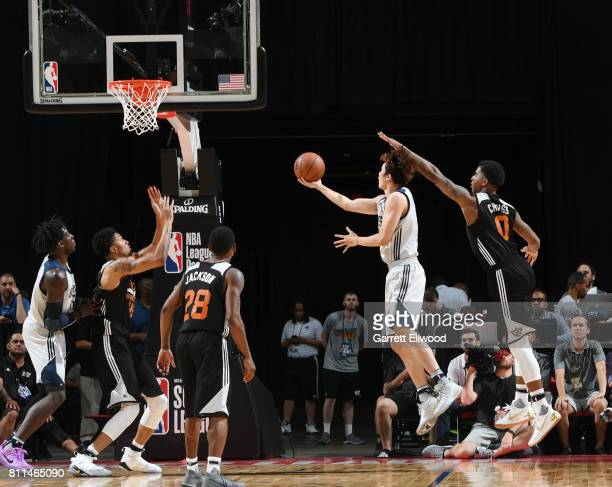 Ding Yanyuhang of the Dallas Mavericks goes for a lay up against the Phoenix Suns during the 2017 Summer League on July 9 2017 at the Thomas Mack...