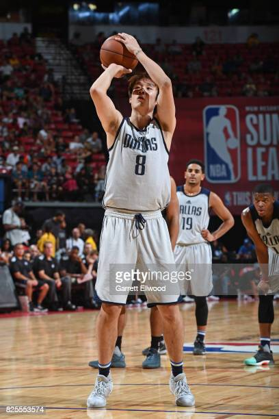 Ding Yanyuhang of the Dallas Mavericks shoots a foul shot during the 2017 NBA Las Vegas Summer League game against the Sacramento Kings on July 13...