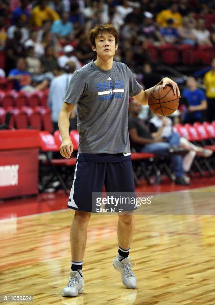 Ding Yanyuhang of the Dallas Mavericks shoots during warmups before a 2017 Summer League game against the Chicago Bulls at the Thomas Mack Center on...