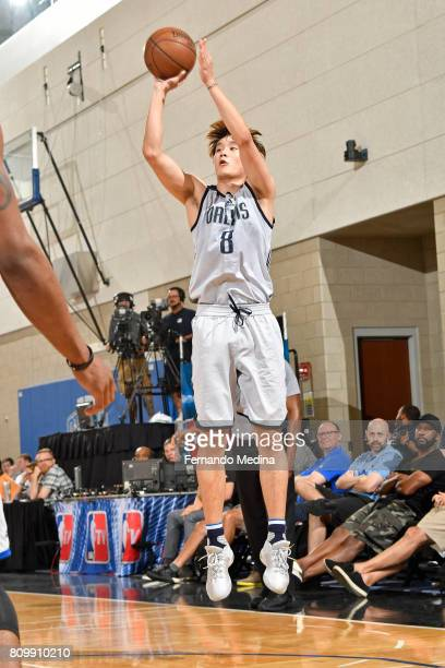 Ding Yanyuhang of the Dallas Mavericks shoots the ball against the Detroit Pistons during the Mountain Dew Orlando Pro Summer League Championship...