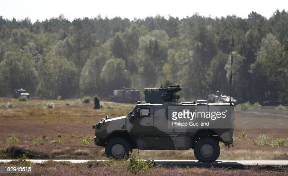Dingo armoured vehicle is seen during the annual military exercises held for the media at the Bergen military training grounds on October 2 2013 near...