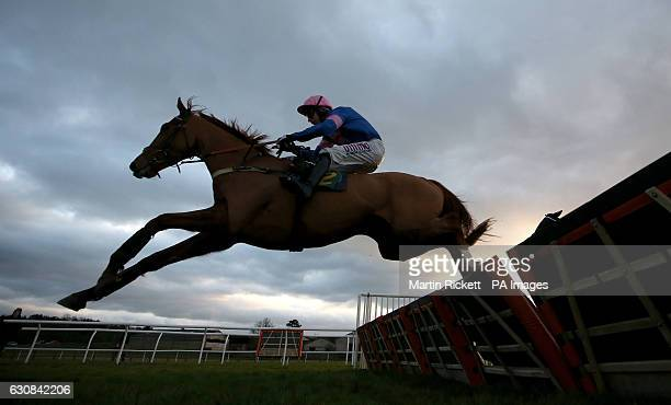 Dingo Dollar ridden by Wayne Hutchinson clears the last fence to win the Le Chalice Maiden Hurdle Race at Bangor Racecourse