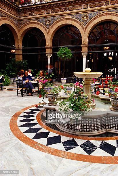 Dining near Mosaic Tile Fountain