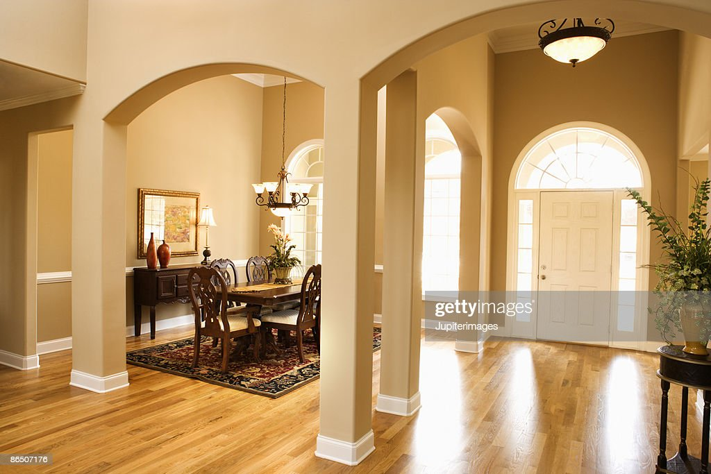 Dining room and entrance to home stock photo getty images for Dining room entrance