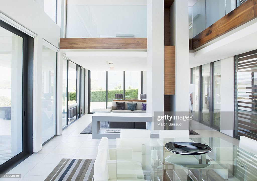 dining room and open floor plan in modern house stock