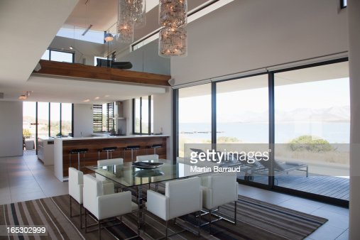 Dining Room And Open Floor Plan In Modern House Stock Photo