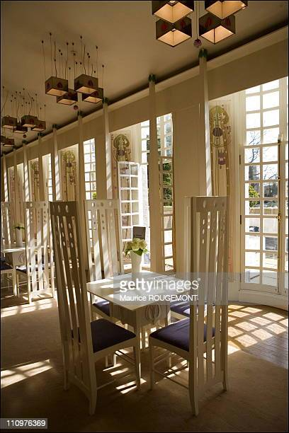 Dining room of the 'House for an art lover' by Charles Rennie Mackintosh in Glasgow United Kingdom on April 24th 2006