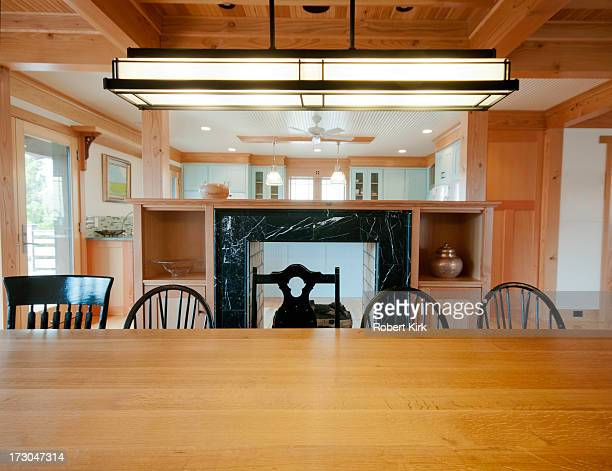 Dining Room Table with Prairie School Lamp