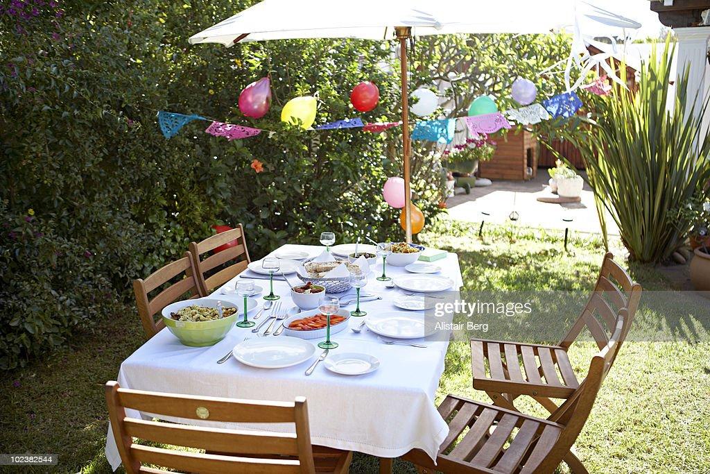 Dining table in garden