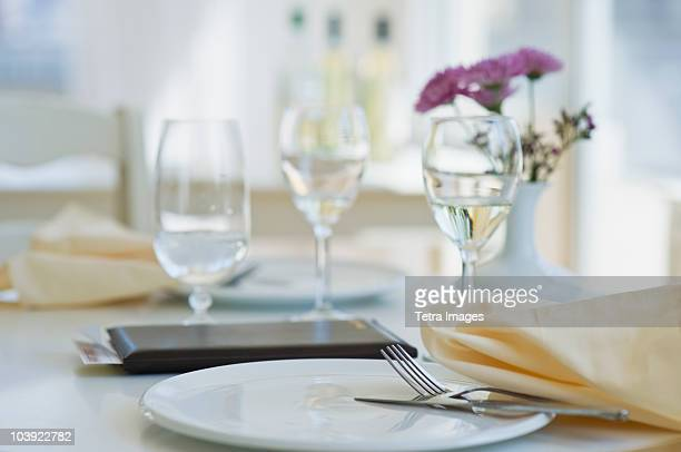 Dining table in restaurant