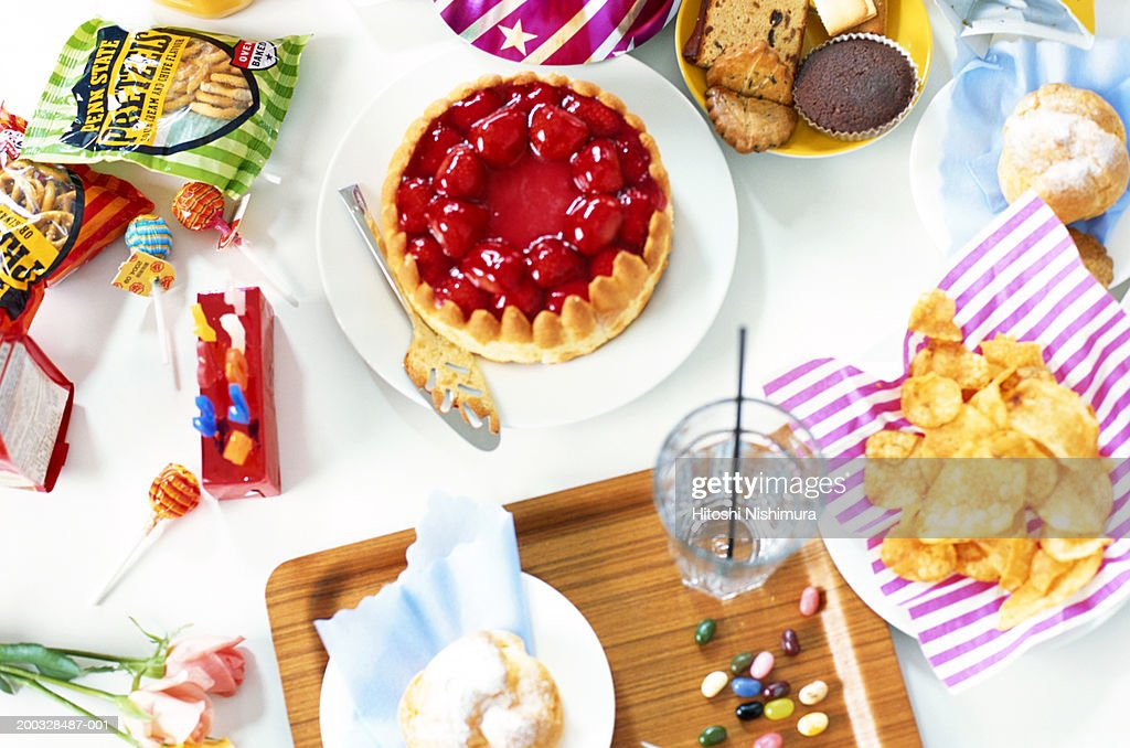Dining table, over head view, close-up : Stock Photo