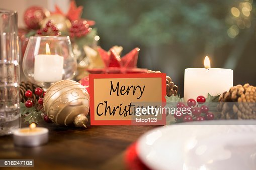 Dining table place setting with Christmas decorations. : Stock Photo