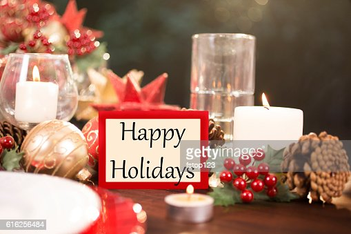 Dining table place setting with Christmas decorations. : Foto de stock