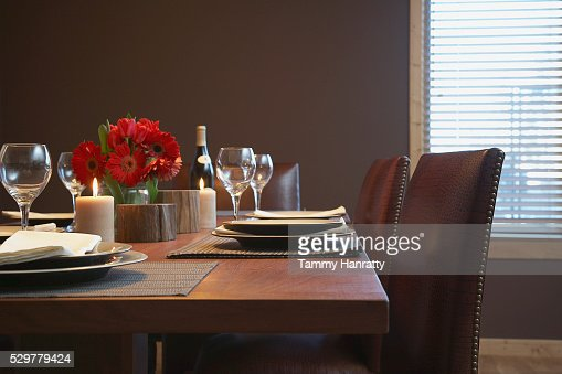 Dining table set for dinner : Stock Photo