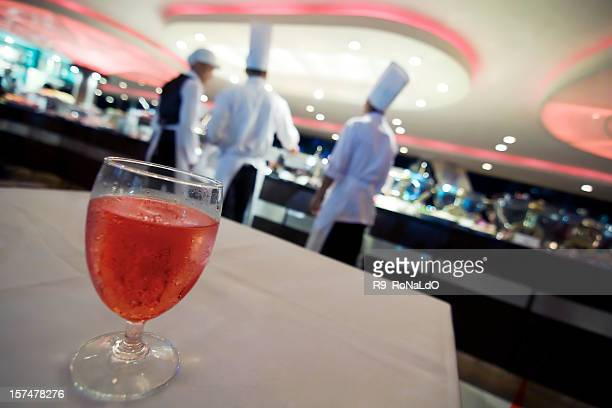 Dining table with red soda water in luxury restaurant