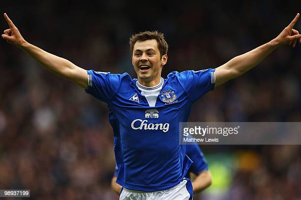 Diniyar Bilyaletdinov of Everton celebrates his goal during the Barclays Premier League match between Everton and Portsmouth at Goodison Park on May...