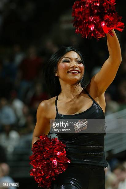 Dinna of the Chicago Luvabulls dance team performs during the NBA game between the San Antonio Spurs and the Chicago Bulls at the United Center...