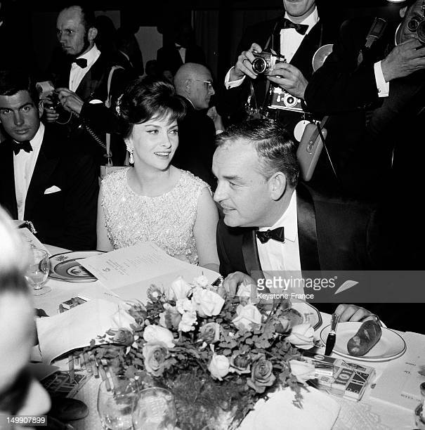 Dinner after awarding Ceremony of 3rd Monaco Television Festival attended by actress Gina Lollobrigida and Prince Rainier on January 20 1963 in Monaco
