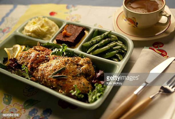 TV Dinner cover story ^^^/ Los Angeles Times Recipes include crispy turkey cutlets truffled mashed Yukon Gold potatoes balsamic–braised sugar snap...