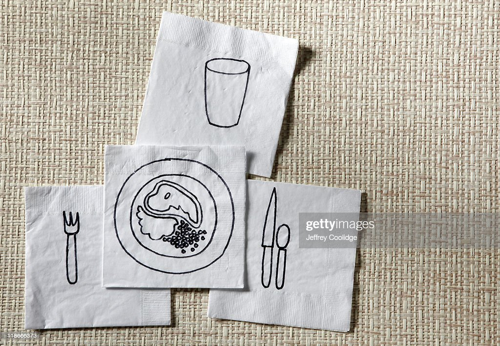 Dinner Drawn on Napkins : Stock Photo