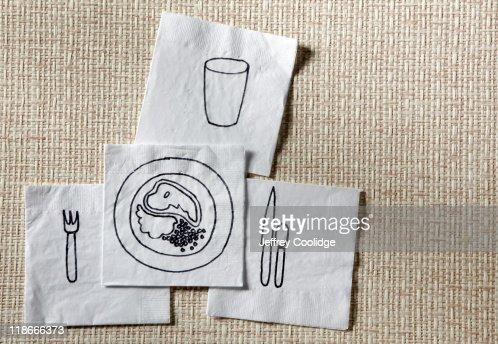 Dinner Drawn on Napkins : Photo