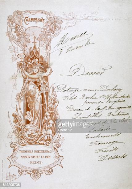 Dinner menu handwritten on a publicity card for Theophile Roederer Co Champagne late 19th century Food Alcohol Advertising