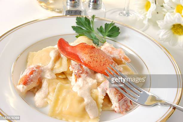 Dinner of tasty lobster ravioli