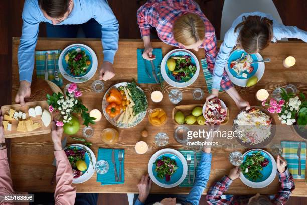 Dinner party for family at home