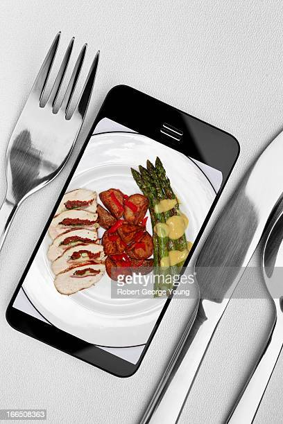 Dinner plate and food on smart phone