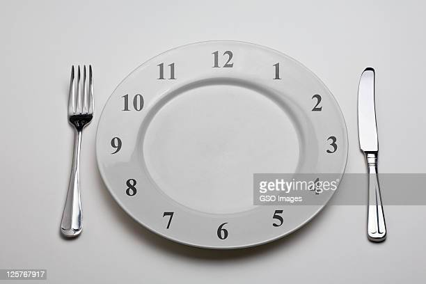 Dinner plate with clock on it