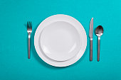 Top view of an empty dinner plate