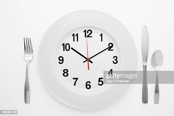 Dinner setting with clock on plate