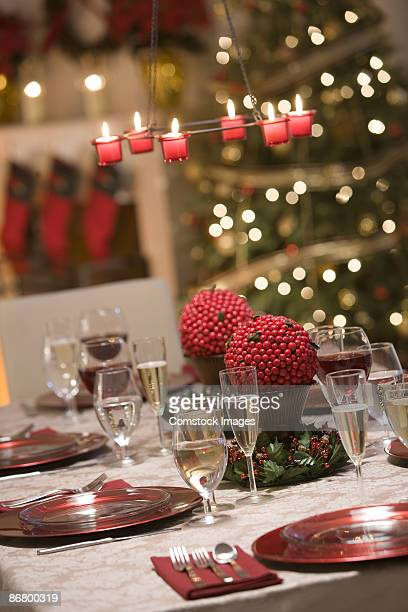 Dinner table at christmas