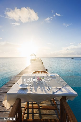 Dinner Table at Sunset Luxury Tourist Resort : Stock Photo