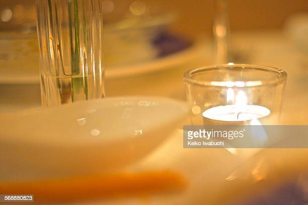 Dinner table with romantic candle