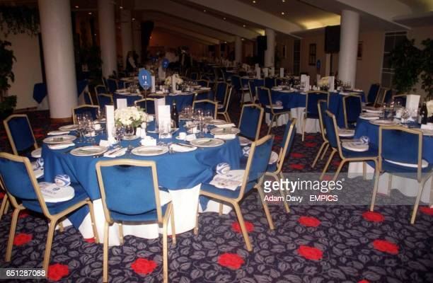 Dinner tables are laid out in the Spirit of Rugby room at Twickenham