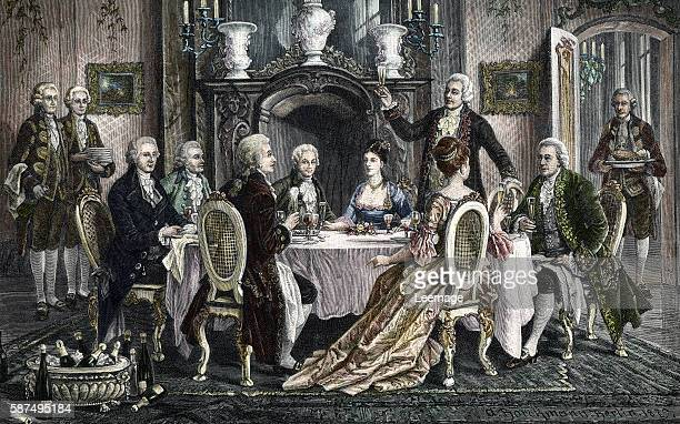 Dinner with champagne at the actor Emanuel Schikaneder house for Wolfgang Amadeus Mozart from left to right Joseph Haydn Johann Georg Albrechtsberger...