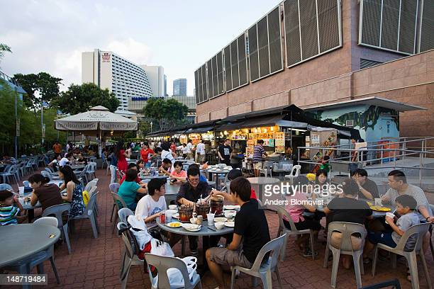 Dinnertime at Gluttons Bay food court at rear of Esplanade-Theatres on the Bay.