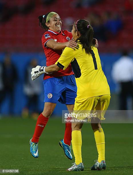 Dinnia Diaz and Lixy Rodriguez of Costa Rica celebrate a goal against Mexico during the CONCACAF Women's Olympic Qualifying 2016 at Toyota Stadium on...