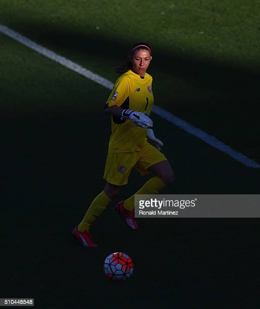 Dinnia Diaz of Costa Rica dribbles the ball against Mexico during the CONCACAF Women's Olympic Qualifying 2016 at Toyota Stadium on February 15 2016...
