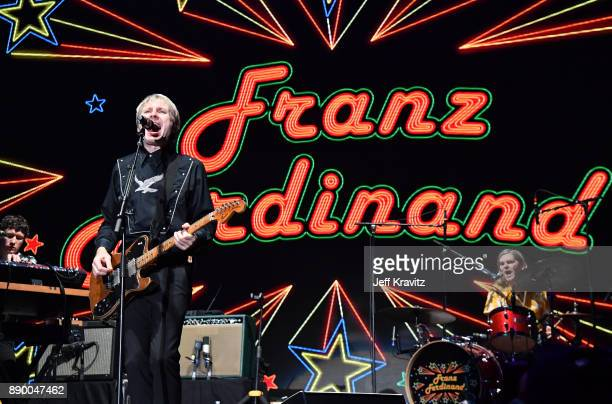 Dino BardotAlex KapranosPaul Thomsonof Franz Ferdinand performs at the KROQ Almost Acoustic Christmas 2017 Night 1 on December 10 2017 at the Forum...