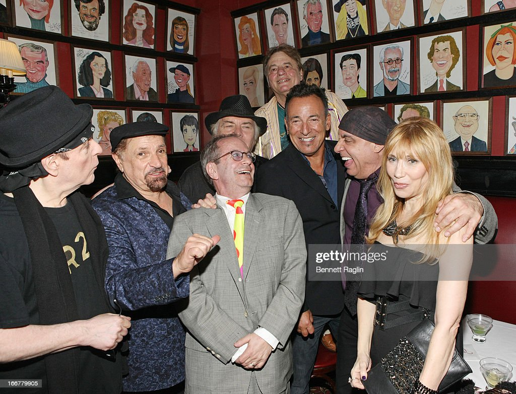Dino Danelli, Felix Cavaliere, Marc Brickman, Bruce Springsteen, Stephen Van Zandt, and Maureen Van Zandt attend the after party for 'The Rascals: Once Upon A Dream' Broadway Opening Night at Sardi's on April 16, 2013 in New York City.