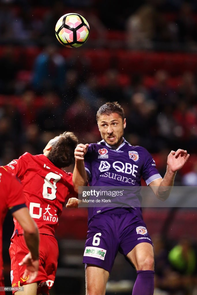 Dino Djulbic of Perth Glory competes for the ball during the round 25 A-League match between Adelaide United and Perth Glory at Coopers Stadium on March 31, 2017 in Adelaide, Australia.