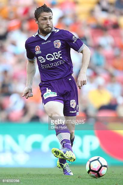 Dino Djulbic of the Glory kicks during the round four ALeague match between the Brisbane Roar and Perth Glory at Suncorp Stadium on October 30 2016...