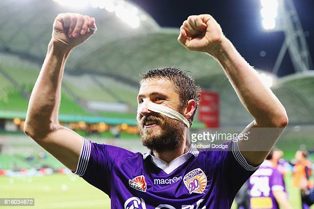 Dino Dulbic of the Glory celebrates the win during the round three ALeague match between Melbourne City FC and Perth Glory at AAMI Park on October 21...