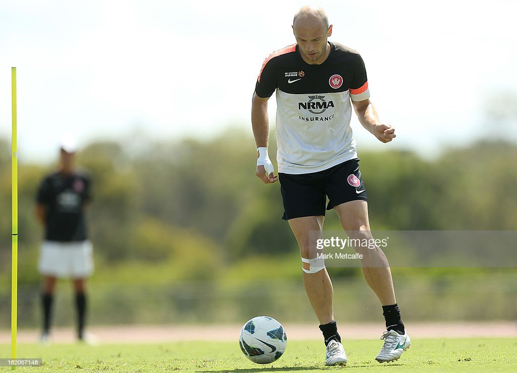 Dino Kresinger controls the ball during a Western Sydney Wanderers A-League training session at Blacktown International Sportspark on February 19, 2013 in Sydney, Australia.
