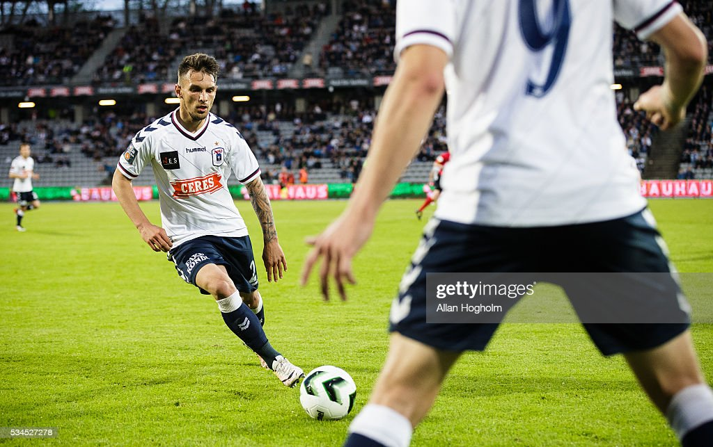 Dino Mikanovic of AGF controls the ball during the Danish Alka Superliga match between AGF Aarhus and OB Odense at Ceres Park on May 26, 2016 in Aarhus, Denmark.