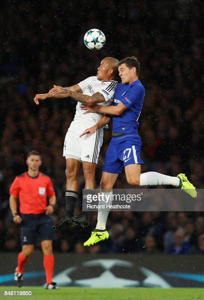 Dino Ndlovu of Qarabag FK and Andreas Christensen of Chelsea battle for possession in the air during the UEFA Champions League Group C match between...
