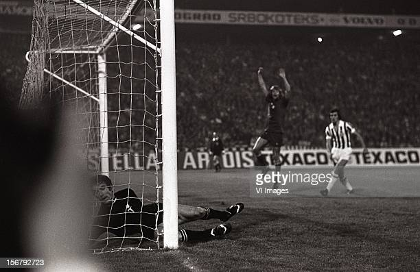 Dino Zoff John Rep during the European Cup final match between Ajax and Juventus at the Red Star Stadium on May 30 2012 in Belgrade Yugoslavia